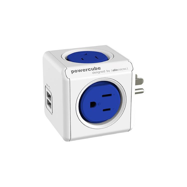 荷蘭 allocacoc PowerCube 雙USB擴充插座/藍色