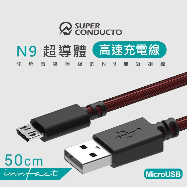 【innfact】MicroUSB N9極速充電線 50cm(支援QC快充)