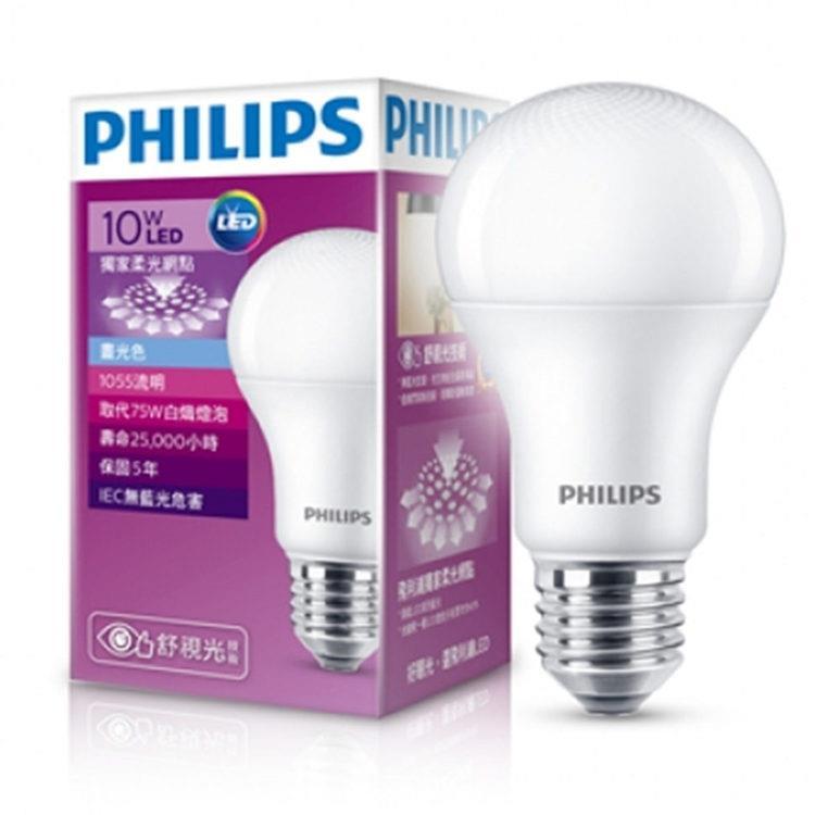【飛利浦 PHILIPS LIGHTING】第7代 10W 舒視光LED燈泡(白光)12入組