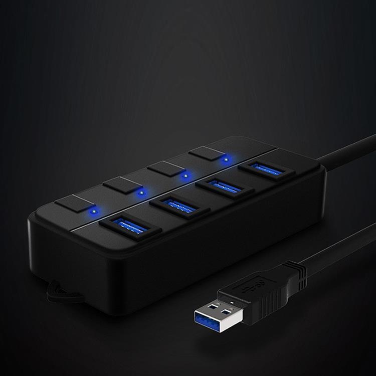 USB3.0 4HUB獨立開關 USB磨砂橡膠擴充器/集線器