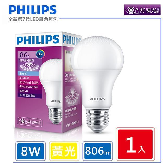 【飛利浦 PHILIPS】LED廣角燈泡-黃光 (8W) 806流明 3000K 全電壓