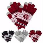 雪花針織觸控保暖手套-粉紅(共3色)