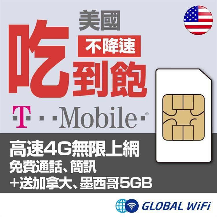 美國 T-Mobile SIM卡4G網路通話無限制+送加拿大、大墨西哥5GB 20天方案上網卡
