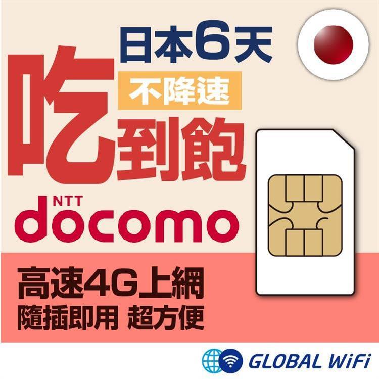 日本 docomo SIM卡 吃到飽無限制 6日方案上網卡