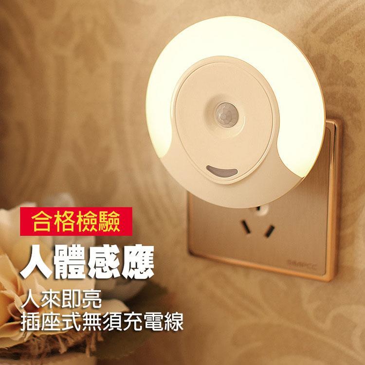 LED插座式人體感應省電小夜燈/人來即亮/白天不會亮