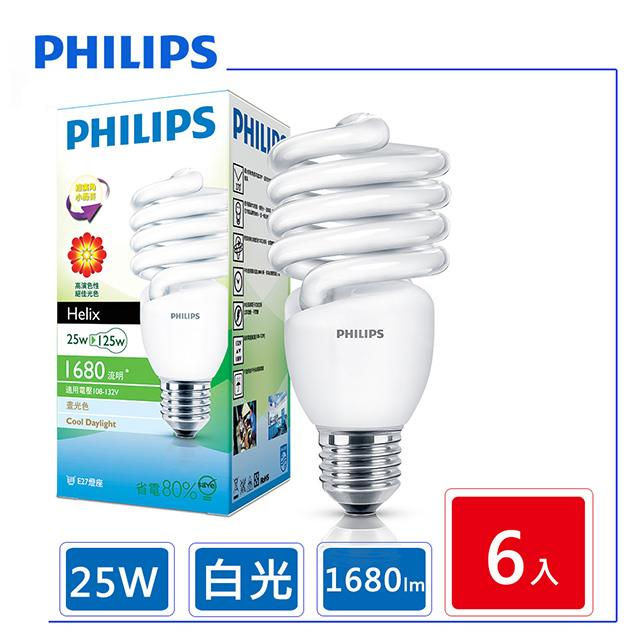 6顆入【新一代】 飛利浦 Helix T3 E27 螺旋省電燈泡 25W-白光