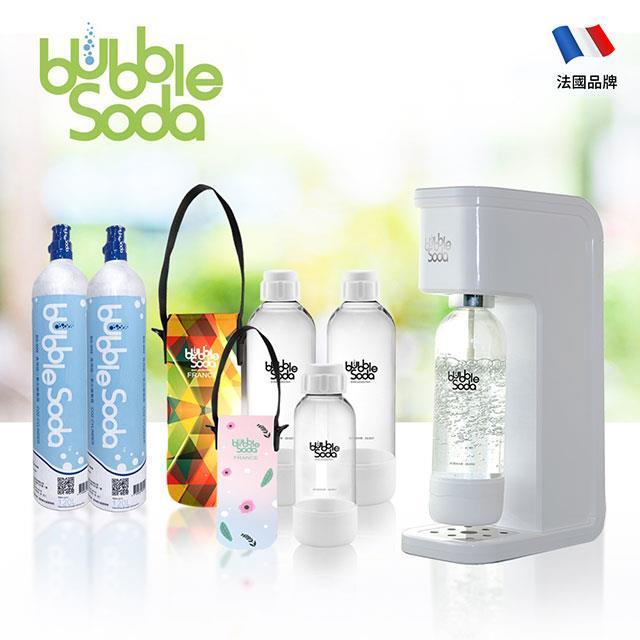法國BubbleSoda 全自動氣泡水機-經典白大氣瓶超值組合 BS-909KTB2