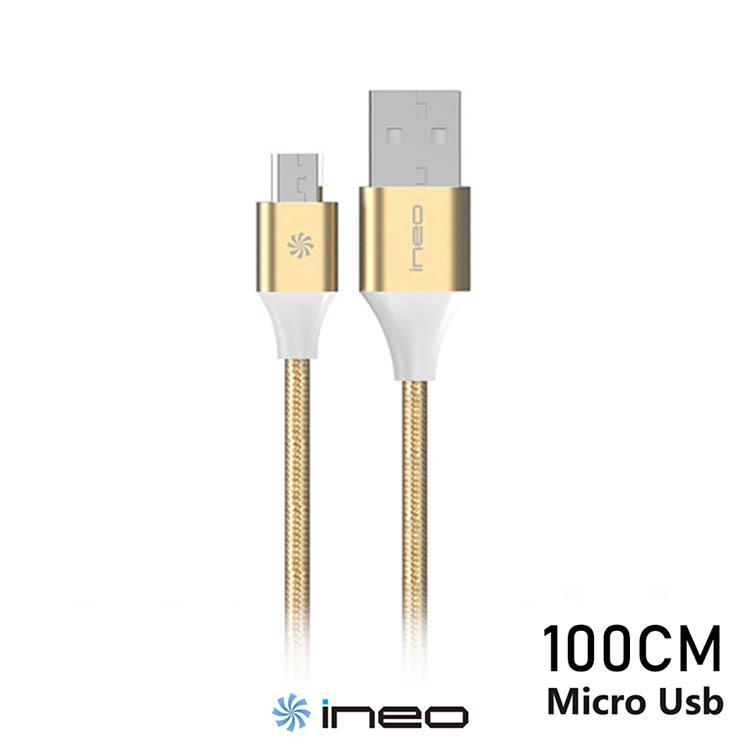 Ineo 安卓用Micro USB 尼龍編織傳輸充電線快充線(100cm)