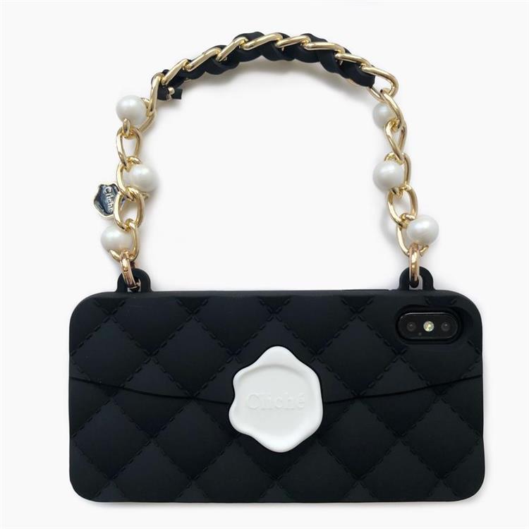 【Candies】手提經典珍珠晚宴包(黑)-iPhone XS Max