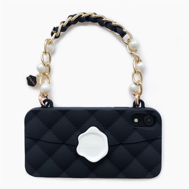【Candies】手提經典珍珠晚宴包(黑)-iPhone XR