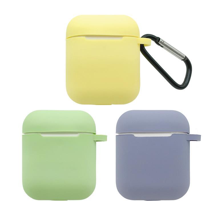 AirPods 純色矽膠保護套 附扣環-抹茶綠
