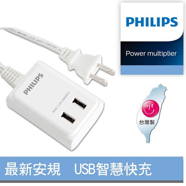 【飛利浦】新安規 過載防護型 USB智慧快充電源線 SPB1402WA/96 (1.8米) 白色