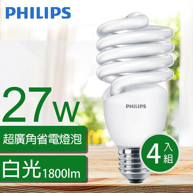 【飛利浦PHILIPS】Tornado 螺旋省電燈泡T2 27W E27 120V 白光 (4入組)