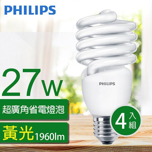 【飛利浦PHILIPS】Tornado 螺旋省電燈泡T2 27W E27 120V 黃光 (4入組)