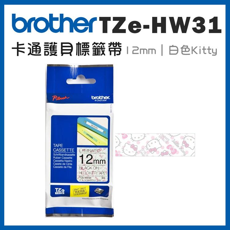 Brother TZe-HW31 卡通護貝標籤帶 ( 12mm 白色 Hello Kitty )