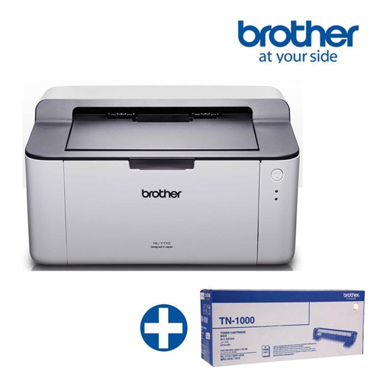(機+粉)BROTHER HL-1110黑白雷射印表機 +TN-1000原廠碳粉匣超值組