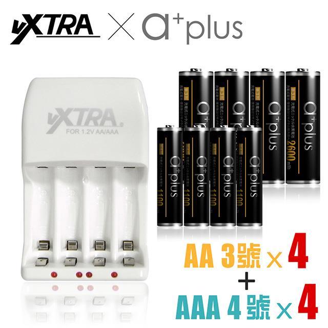 VXTRA 2A急速智能充電組(附a+plus 3號池8入+4號電池8入)