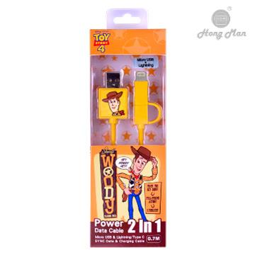 迪士尼系列 Lightning / Micro USB 二合一快充傳輸線 胡迪