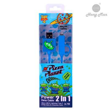 迪士尼系列 Lightning / Micro USB 二合一快充傳輸線 三眼怪