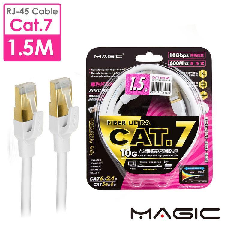 MAGIC Cat.7 SFTP圓線 26AWG光纖超高速網路線(專利折不斷接頭)-1.5M