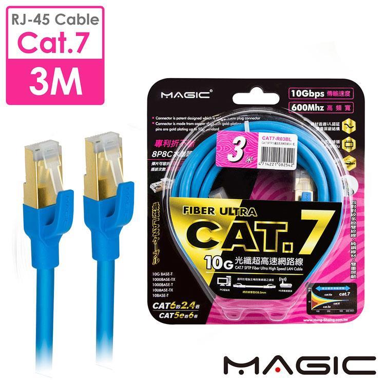 MAGIC Cat.7 SFTP圓線 26AWG光纖超高速網路線(專利折不斷接頭)-3M