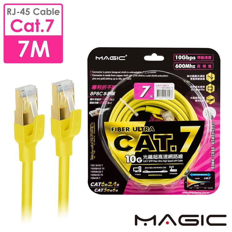 MAGIC Cat.7 SFTP圓線 26AWG光纖超高速網路線(專利折不斷接頭)-7M