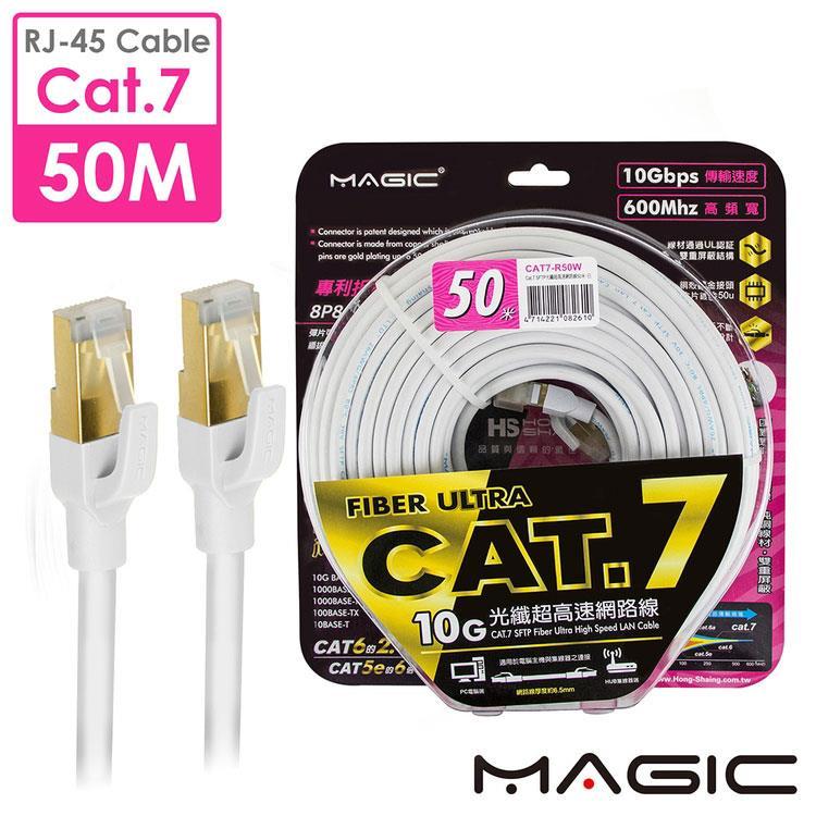MAGIC Cat.7 SFTP圓線 26AWG光纖超高速網路線(專利折不斷接頭)-50M