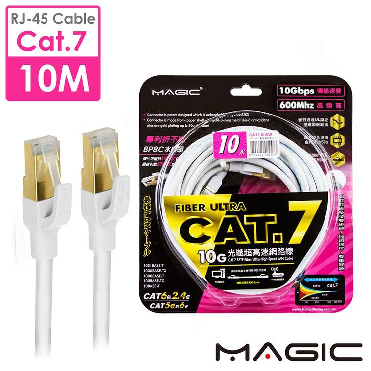 MAGIC Cat.7 SFTP圓線 26AWG光纖超高速網路線(專利折不斷接頭)-10M