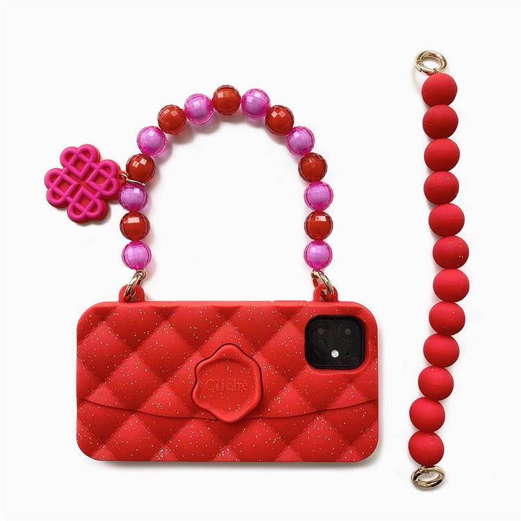 【Candies】水晶經典晚宴包(紅) - iPhone 11 (附短鏈)