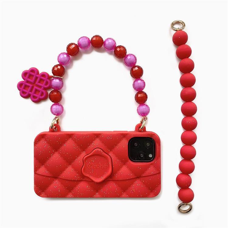 【Candies】水晶經典晚宴包(紅) - iPhone 11 Pro (附短鏈)