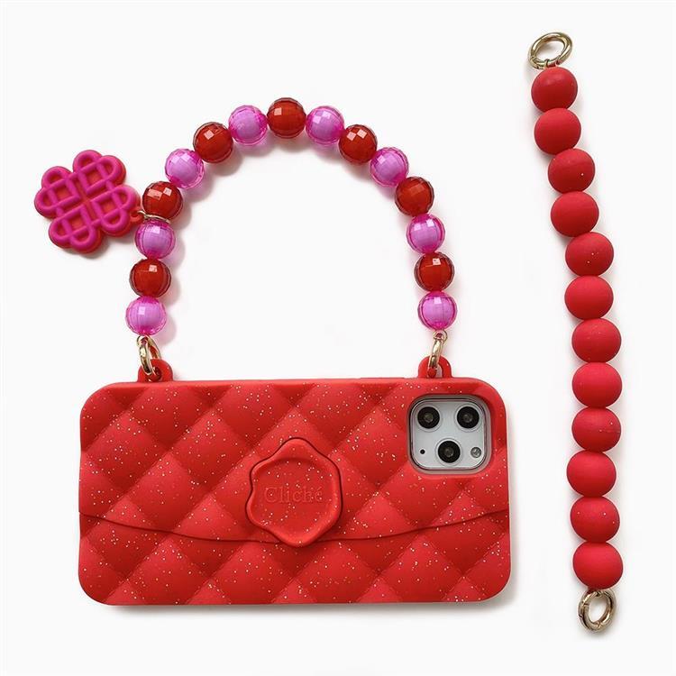 【Candies】水晶經典晚宴包(紅) - iPhone 11 Pro Max (附短鏈)