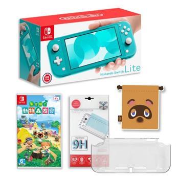 Nintendo 任天堂Switch Lite主機+《動物森友會+束口袋+ 主機+鋼化貼》