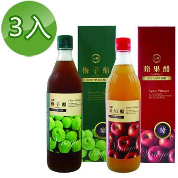 【台糖】水果醋600ml(蘋果醋3瓶+梅子醋3瓶)