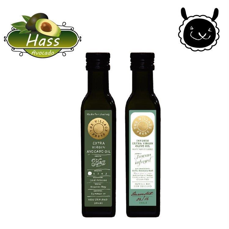 【壽滿趣- 紐西蘭廚神系列】頂級冷壓初榨黃金酪梨油/義式香蒜風味橄欖油(250ml 兩瓶禮盒裝