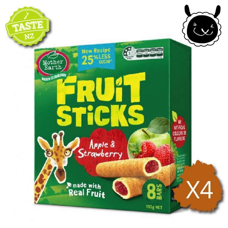 【壽滿趣】紐西蘭 Mother Earth烘培水果棒x4盒(蘋果草莓口味)