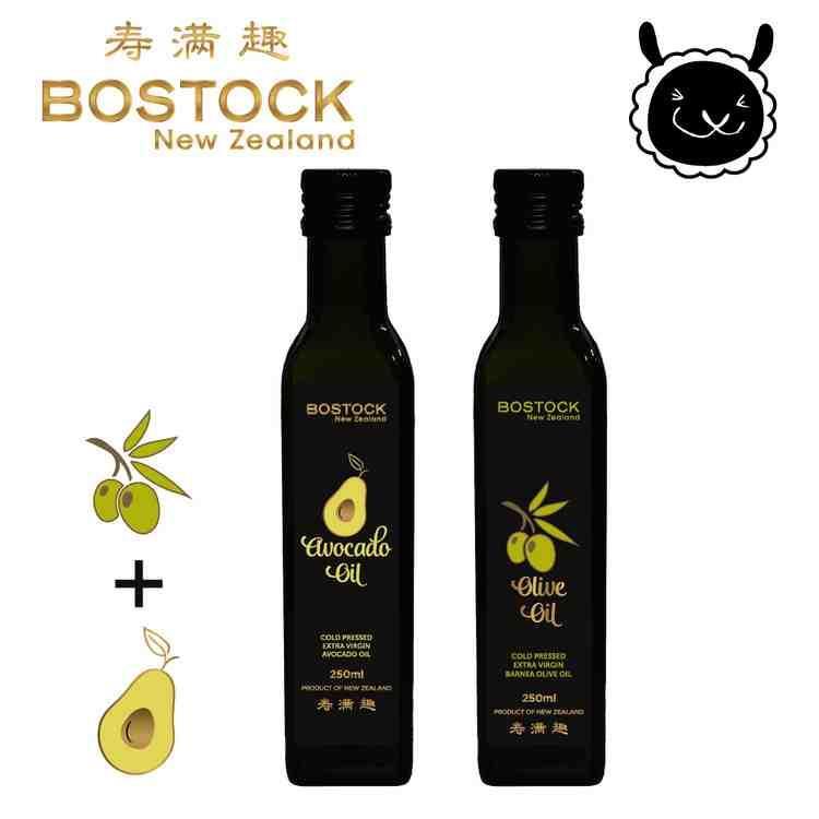 【壽滿趣- Bostock】頂級冷壓初榨酪梨油/原味橄欖油(250ml  x2)