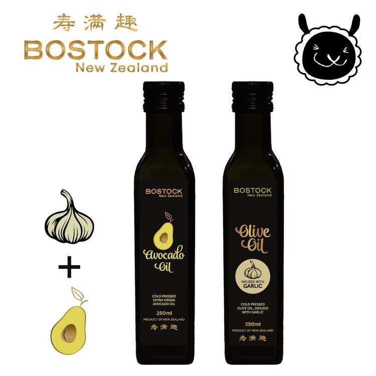 【壽滿趣- Bostock】頂級冷壓初榨酪梨油/蒜香風味橄欖油(250ml  x2)