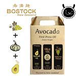 【壽滿趣- Bostock】頂級冷壓初榨酪梨油;蒜香風味橄欖油/巴薩米可醋(250ml 三瓶禮盒裝