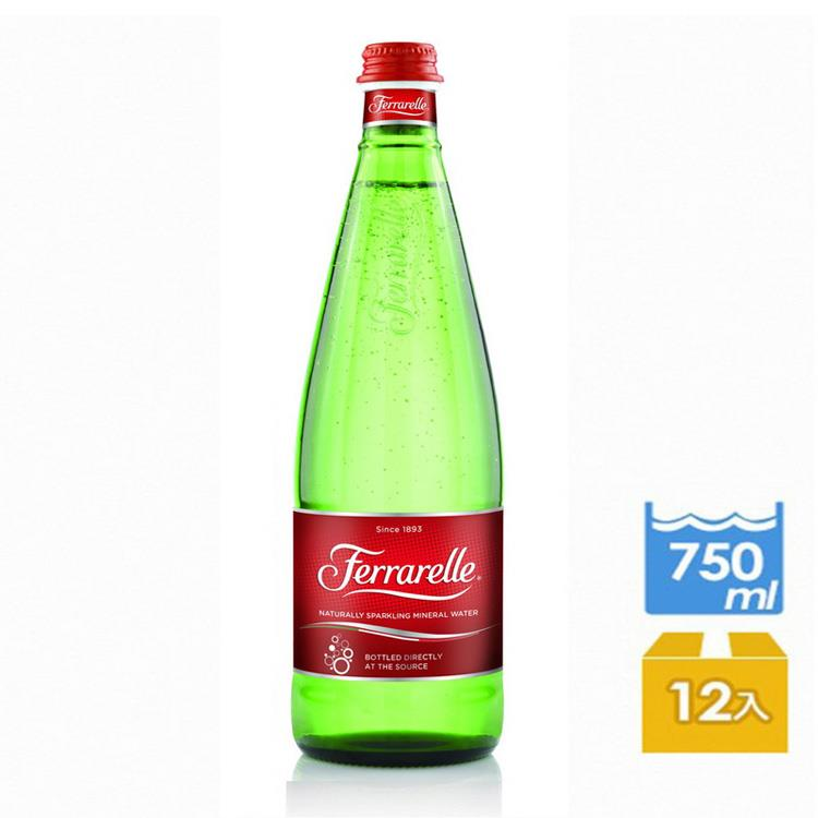 【義大利法拉蕊Ferrarelle】天然氣泡礦泉水(750mlx12瓶/箱)