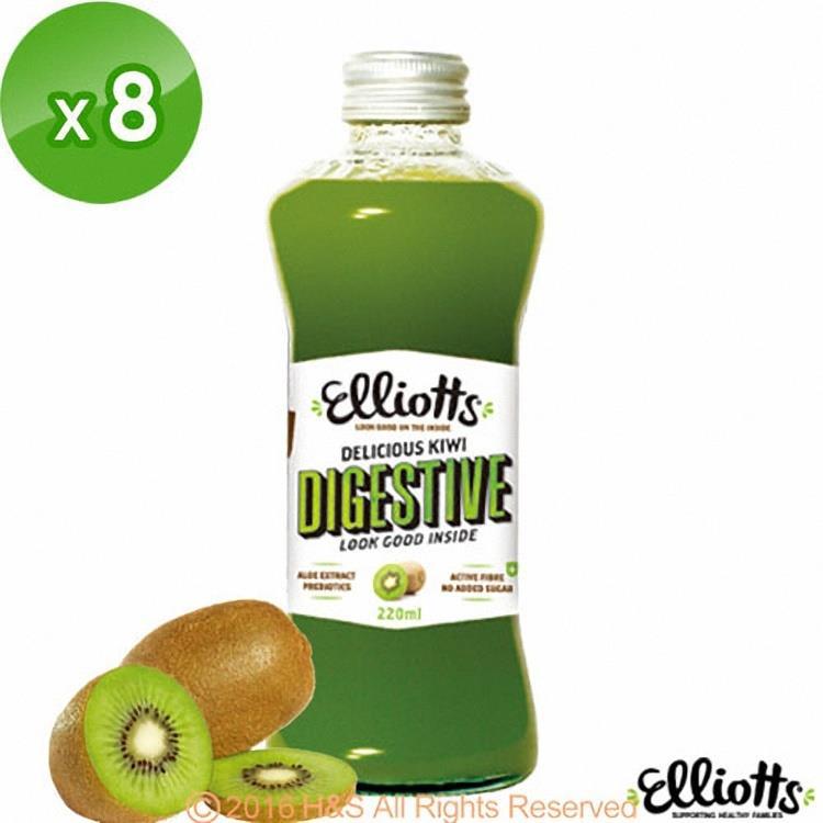 【Elliotts益利多】紐西蘭100%純綠色奇異果果汁8入(220公克/瓶)