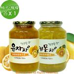 《韓廣》韓國蜂蜜柚子茶+檸檬茶(1kg)(各1入)