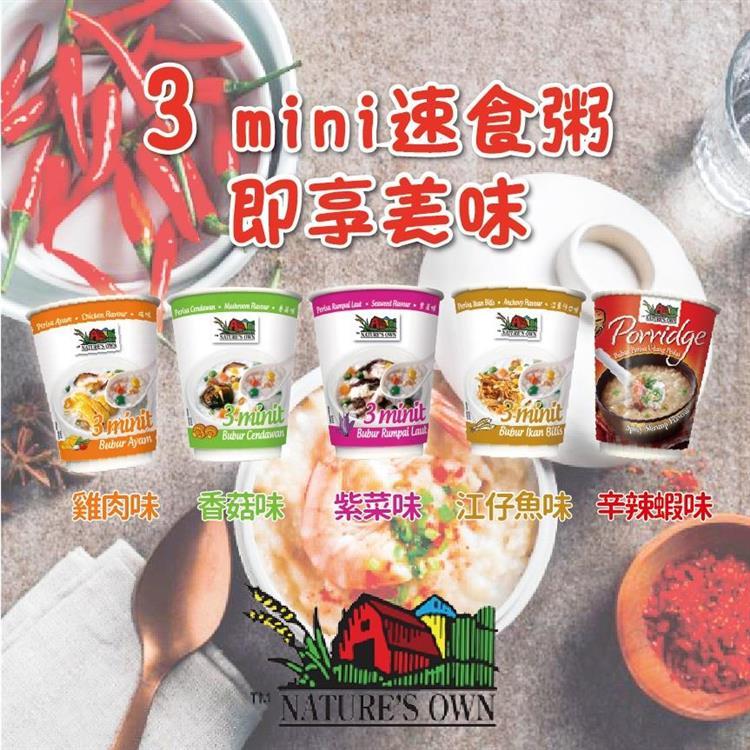 NATURE'S OWN速食粥(雞肉/香菇/紫菜/江魚仔/辛辣蝦風味)/6杯入