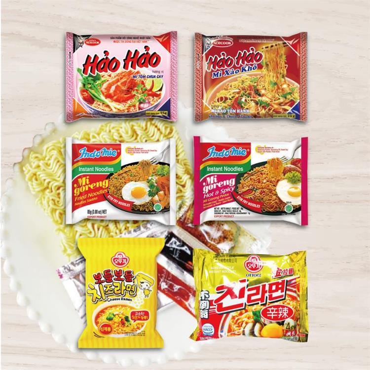 異國暢銷泡麵組合箱(40包入)韓國不倒翁拉麵  印尼營多撈麵  越南HAOHAO泡麵