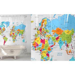 賽先生科學工廠-透明/世界地圖浴簾(英文版)