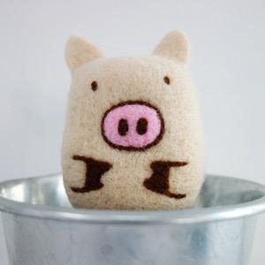羊毛氈手創館【小幫手系列】洗香香‧沐浴球-小豬