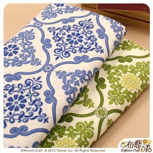 【布藝漾小舖】厚棉帆布- 中國風圖騰 家飾布/半碼 寬幅 青草綠