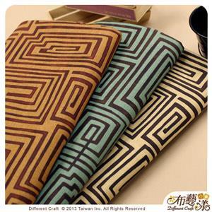 【布藝漾小舖】厚棉帆布- 繞迷宮 家飾布/半碼 寬幅 青綠