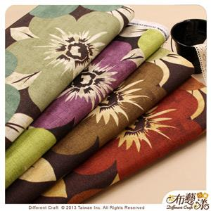 【布藝漾小舖】厚棉帆布- 叢林花草 家飾布/半碼 寬幅 深咖