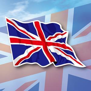 【國旗商品創意館】英國旗飄揚抗UV、防水貼紙2入/UK/多國款式可選購