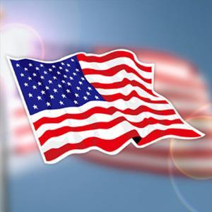 【國旗商品創意館】美國旗飄揚抗UV、防水貼紙2入/USA/多國款式可選購